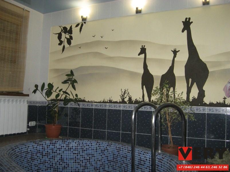 Выполнена декоративная роспись стен купели