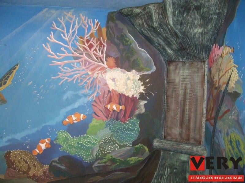 Бассейн №20 декоративная роспись стен