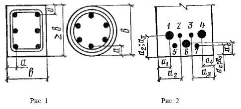 Расстояния до оси арматуры и среднее расстояние до оси арматуры